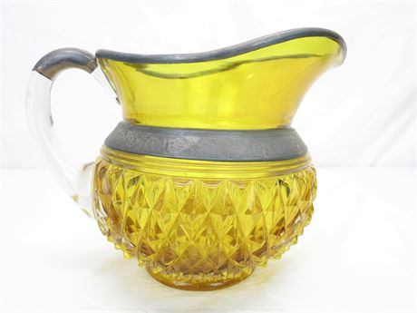 Vintage Amber with Metal Decor Glass Pitcher