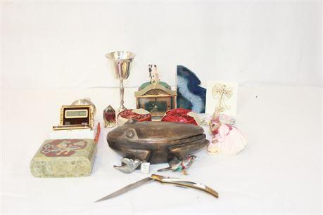 Vintage Collectible Junk Drawer Lot Wood Metal Trinkets