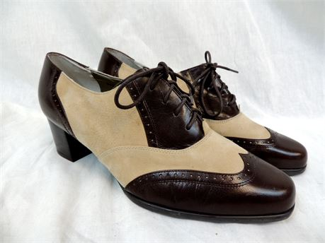Ros Hommerson Oxford Addison Wing-Tip Lace-Up Brown Leather Pumps Sz 10.5W