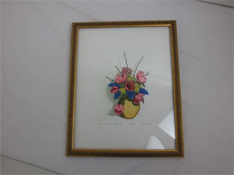 Three framed watercolor signed prints