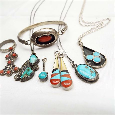 Tribal Inspired Sterling Silver Coral & Turquoise Lot Assorted Pieces