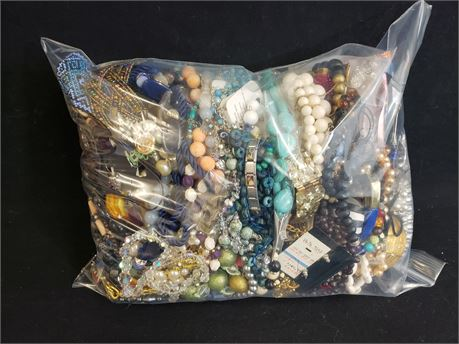 Lot Of Mixed Quick Sorted Costume Jewelry. 11 Lbs. 5.0 oz. W/ Bag