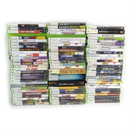 Lot of 83 Xbox 360 Games: Halo, Call of Duty, Gears of War, Bioshock, Portal