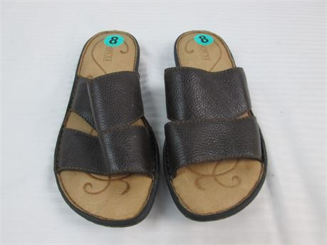 Born Leather Brown Casual Slip On Sandal