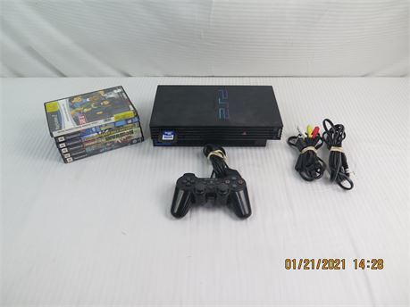 Sony PlayStation 2 PS2 Fat Console w/ Controller, Memory, 6 Video Games (670)