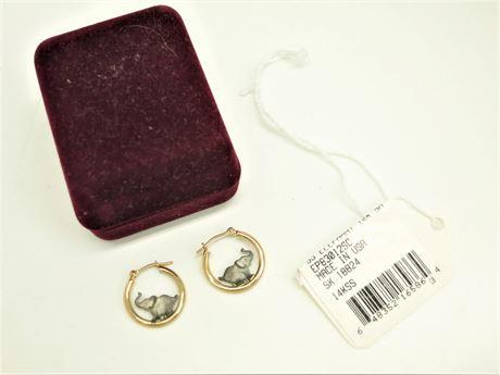 14K Yellow Gold Sterling Silver Elephant Hoops Earrings