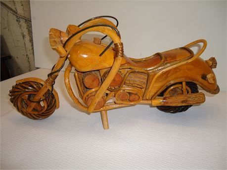 """Folk Art, Wood Carved And Assembled Motorcycle Chopper. 18""""x 5""""x 9"""""""