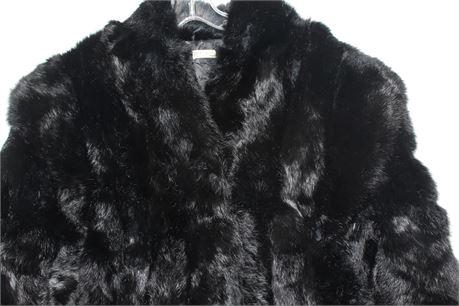 Rabbit Fur Black Coat, Size Large