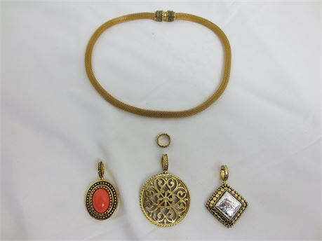 Magnetic Gold Tone Necklace with 4 Interchangeable Pendants