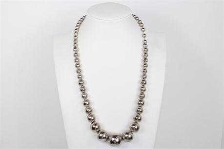 """65 oz 925 Silver Beaded Necklace 25"""""""