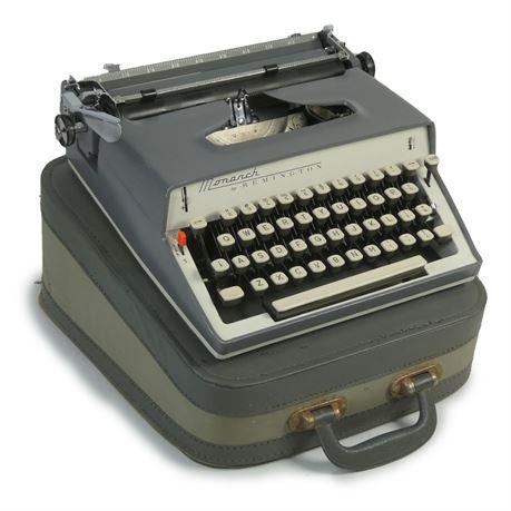 Vintage 1960s Remington Monarch Typewriter Grey/White w/Case
