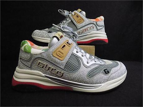 GUCCI Ultrapace Silver Glitter Sneakers, Size:38