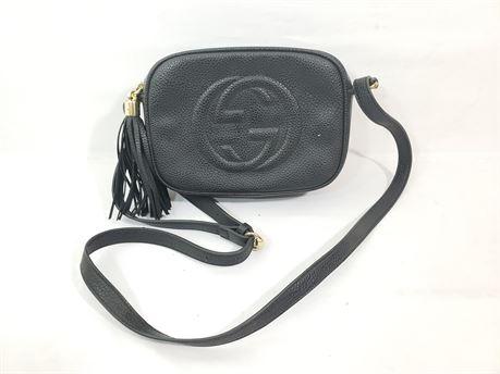 "Black Gucci Monogram Bag Purse. 9"" X 6"" X 3"""