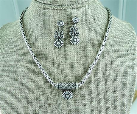 Brighton Silver Tone Sunflower Necklace & Dangle Earring Set (579-J)