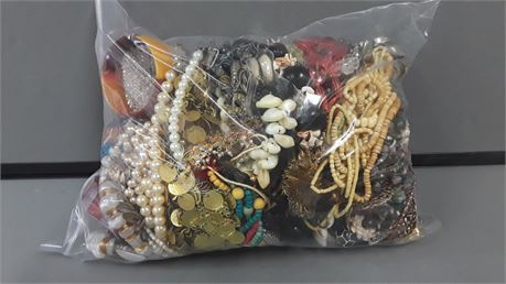 Lot Of Mixed Quick Sorted Costume Jewelry. 10 Lbs. 11.7 oz. W/ Bag