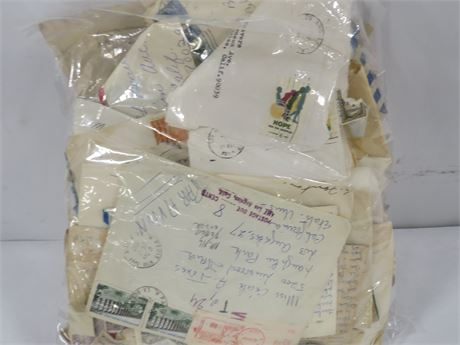 Lot of Assorted Vintage Stamps, Letters, and Letters/Postcards (230-LV17WW)