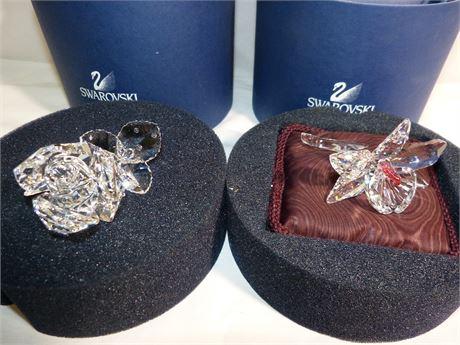 2 Swarovski Crystal Flowers