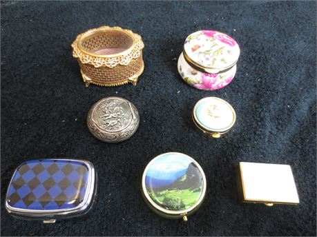 Lot of 7 Mini Jewelry and Trinket Boxes