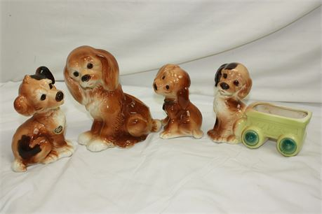 Vintage Royal Copley China: 2 Dog Figurines and 2 Dog Planter