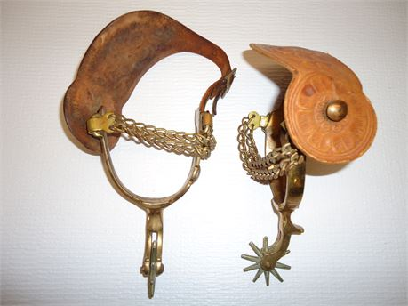 Set Of Western Spurs And Straps 10-Point Pre-Owned