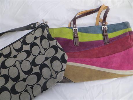 COACH Set of Two:  Multi-Color & Black/Grey Shoulder Bags