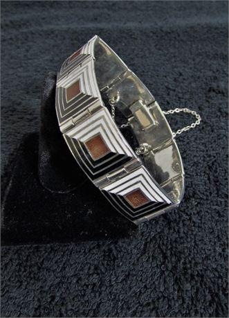 Vintage 925 Taxco Mexico Silver Enamel Panel Bracelet