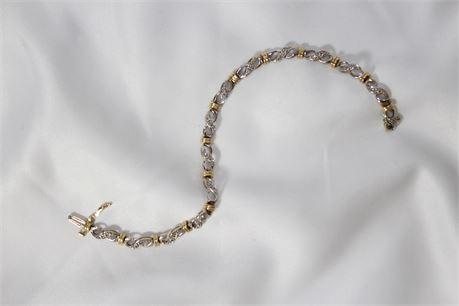 14k Yellow & White Gold Bracelet w/Diamonds