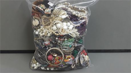 Lot Of Mixed Quick Sorted Costume Jewelry. 12 Lbs. 14.7 oz. W/ Bag