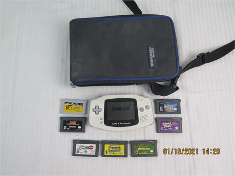 Nintendo Game Boy Advance AGB-001 White Handheld System w/ 6 Games, 1 Video