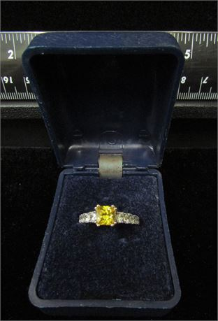 Princess Cut Citrine and CZ 925 Silver Ring