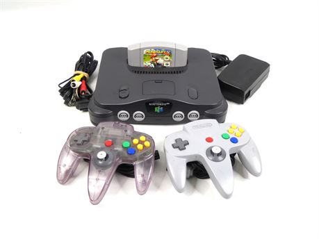 Nintendo 64 Console w/ Mario Kart 64 and Two Authentic Controllers