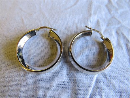 14 Karat White Gold Hoop Earrings 3.94 Grams - Tested w/ JSP