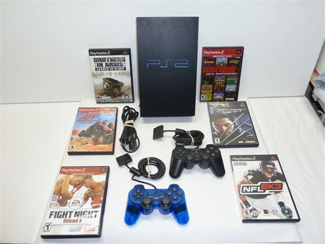 Lot Of PS2 :1 Console,2 Controllers, And 6 Games Pre-Owned