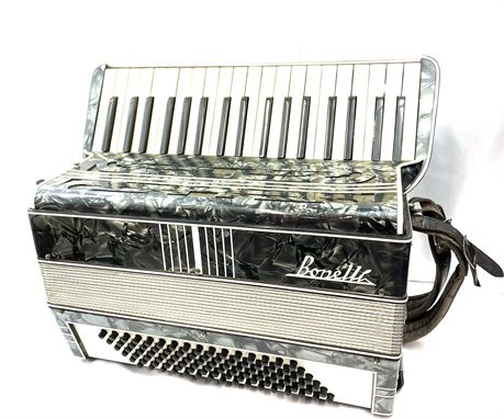 Vintage Bonelli Accordion Black & Silver W/ Red Velvet Hard Case