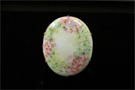 Antique Victorian Edwardian Hand Painted Forget Me Not Brooch