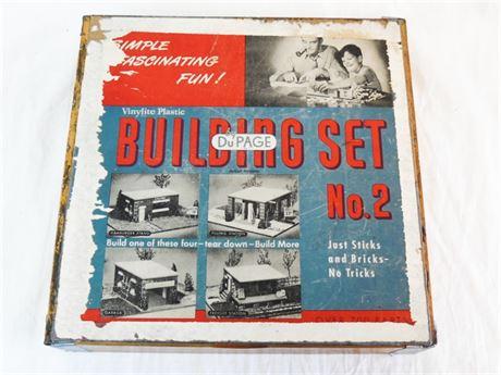Vintage DuPage Vinylite Plastic Building Set Number 2 in Wood Box
