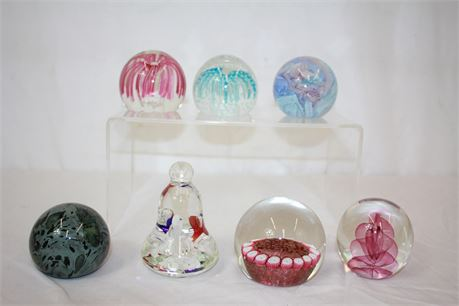 7 Decorative Hand Made Blown Glass Paperweights