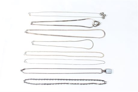 Assorted Sterling Silver Necklaces, 57.24 Grams