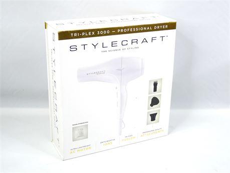 Stylecraft Tri-Plex 3000 Professional Hair Dryer With Diffuser White
