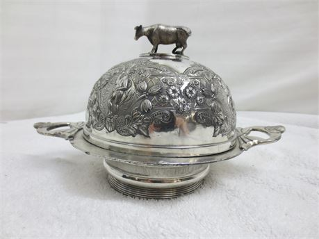Vintage Mermod Jaccard Quadruple Plated Domed Butter Dish