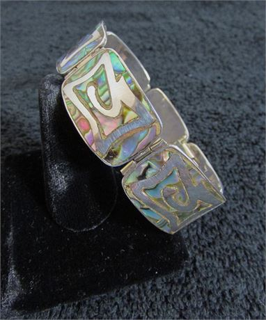 Vintage 925 Mexico Silver Mother of Pearl Panel Bracelet