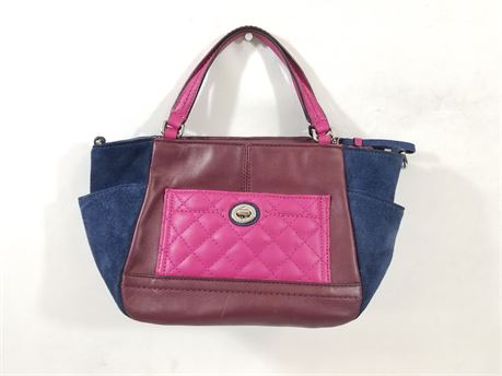 Coach Purse Bag W/ Genuine Leather. 12 X 7 X 5