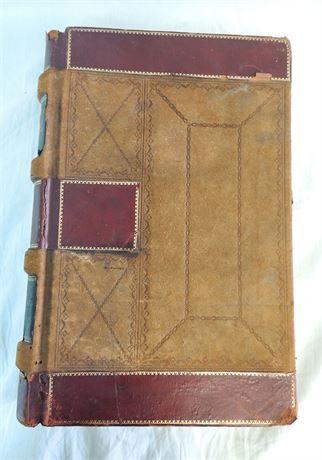 Large Antique Leather Bound Journal/Ledger Book - Needs TLC