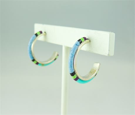 Multi-Stone 925 Sterling Silver Hoop Earrings 20mm (112-J)