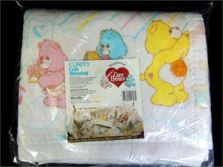 """Vintage Curity Care Bears Crib Blanket 40""""x45"""" - In Original Package"""