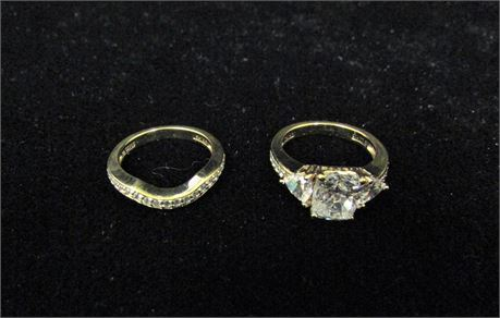 Lot of 2 Gold Tone 925 Silver CZ Rings