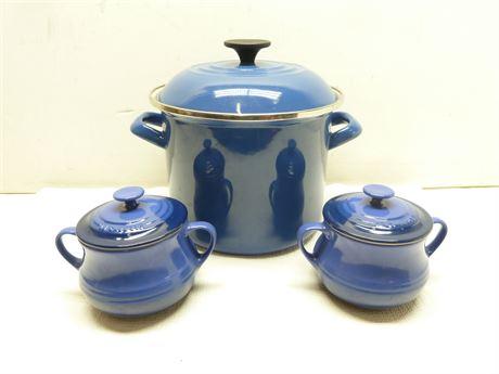 Le Creuset; 2 Blue Sugar Bowls & Quart Sauce Pan(Has Use On Pan)Pre-Owned