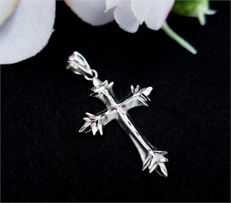 Michael Anthony 14K White Gold Diamond Cut Cross Pendant .95 Grams (649)