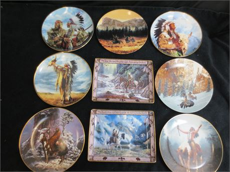 Lot of 9 Decorative Native American Themed Plates