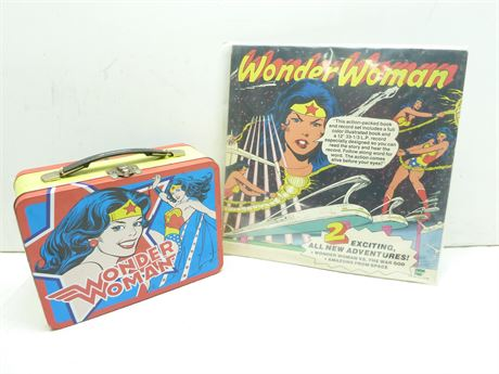 Wonder Woman Lot; Vintage 1977 Record & Book & Newer Lunch Pail